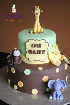 Jungle Animal Baby Shower - Gender neutral baby shower two tier 6 & 10 covered in fondant with fondant accents. Animals handmade from fondant. Thanks for looking!