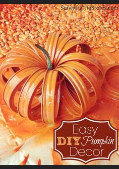 How to make a super cute pumpkin decoration with just mason jar lid rings!  This craft is so easy to make and always turns out great!
