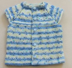 Blue white Babies Vest / Hand Knitting Babies by BYBERRDESIGNS, $15.00