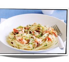 Dill and capers are always delicious with salmon. Here they are combined with a creamy pasta base. (canned good quality canned salmon is used) Salmon Pasta Recipes, Smoked Salmon Pasta, Dill Salmon, Baked Salmon, Fish Recipes, Seafood Recipes, Cooking Recipes, Salmon Sauce, Poached Salmon