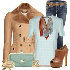 """""""Burberry Camel and Turquoise Contest"""" by kginger on Polyvore"""