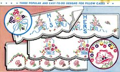 Vogart 108 Three Popular easy to do designs for Pillow Cases.