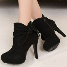 Winter Round Toe Stiletto High Heel Zipper Ankle Bow Tie Black PU Martens Boots_Boots_Womens Shoes_Cheap Clothes,Cheap Shoes Online,Wholesale Shoes,Clothing On lovelywholesale.com - LovelyWholesale.com