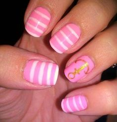 adorable! pink and white striped anchor nails #so #cute #Iloveit