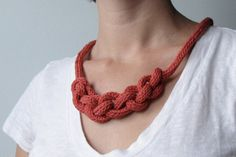 Knitted Statement Necklace, Coral Pink Fibre Necklace