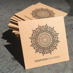 Mamma Mandala business cards stack printed on Buffalo Board - etsy store card ideas