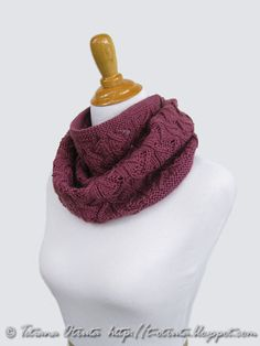Hand knit lace infinity scarf in berry purple loop cowl by Otruta, $85.00