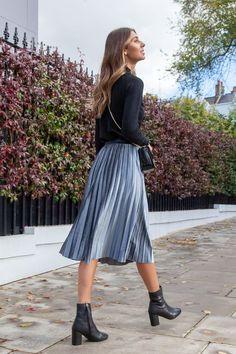 Dark Grey Velvet Pleated Midi Skirt : Styled in London Website, Styled in London Clothes, Styled in London Dress, Silver Velvet Pleated Midi Skirt A Line Skirt Outfits, Pleated Skirt Outfit, Modest Outfits, Midi Skirts, Fashion Mode, Skirt Fashion, Fashion Outfits, Velvet Pleated Skirt, Winter Skirt Outfit