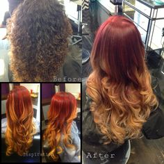 Before and after creative color ombre