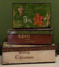 Vintage metal Christmas boxes