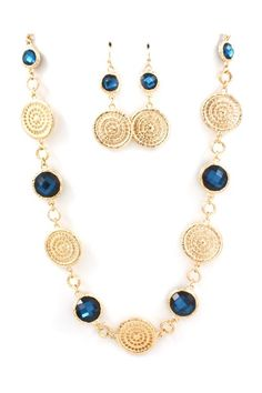 Gold & Blue Necklace - Earring Set