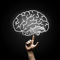 stock photo of brain - Human hand pointing with finger at brain icon - JPG