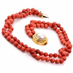Estate Dual-Strand Red Coral Beads Necklace Mabe Pearl 18K Yellow Gold Clasp Item # 529217-612625