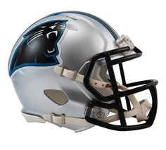 A pro gridiron fan must-have, the Riddell NFL Speed Mini Helmet is a half-scale replica of the full-size Speed football helmet. Comes clad in official team colors and decals, plus equipped with a face mask, internal padding and chin strap. Nfl Football Helmets, Football Fans, Carolina Panthers Shirt, New Helmet, American Football Players, Helmet Design, Indianapolis Colts, Cincinnati Reds, Sports