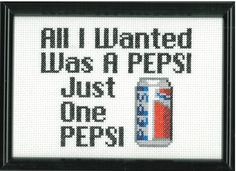 """""""I'm not crazy! You're the one who's crazy!"""" Suicidal Tendencies Pepsi Cross Stitch by DefiantDamsel on Etsy"""