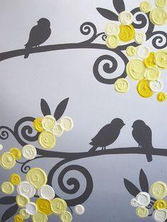 Art mural jaune gris fleurs et oiseaux texture de peinture