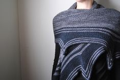 Garter stitch, stripes, and a sharp, jagged edge. This semi-circular shawl can be worn many different ways, and the colour combination choices are endless.