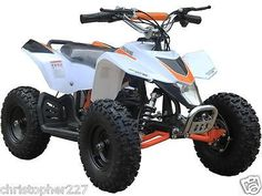 Outdoor Kids Sahara X V3 White Mini Quad ATV Dirt Motor Bike Electric Battery