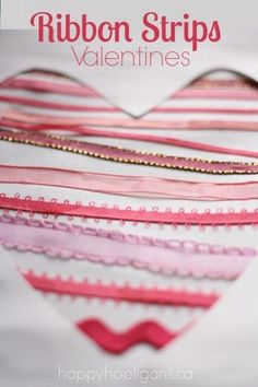 Ribbon Heart Valentines Cards For Toddlers and Preschoolers to Make