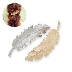Tinksky Blatt-förmigen Hair Clip Pin Claw Headwears Haar Zubehör Pack 2 (Golden + Silber): Amazon.de: Beauty