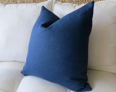 Navy Blue Linen Pillow Cover, Solid Pillow Cover, Euro Sham, Pillow Sham, Modern Pillow, 18 x 18, 20 x 20, 22 x 22, 24 x 24, 26 x 26