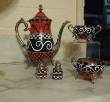 Handpainted Vtg Silverplate Tea Set  ALICE Queen of Hearts Mad Hatter Tea Party