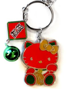 Sanrio Hello Kitty Lucky Cat Key Chain w/ Charms