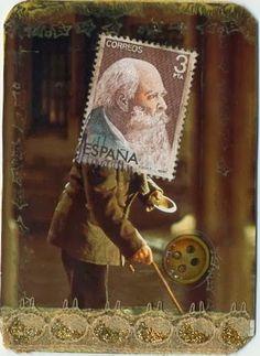 Spiel mit Papier - Postage stamp person
