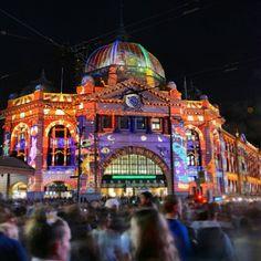 White Night Melbourne, Flinders St Station #Melbourne #whitenightmelb