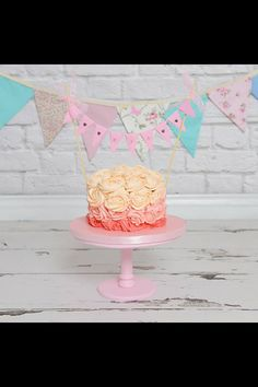 Baby Girl Cake Bunting Pink New Baby Shower Cake Topper by noolys