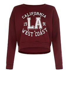 Teens Burgundy California West Coast Sweatshirt   New Look