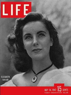"""Elizabeth Taylor - Life Magazine, July 14, 1947 issue - Visit http://oldlifemagazines.com/the-1940s/1947/july-14-1947-life-magazine.html to purchase this issue of Life Magazine. Enter """"pinterest"""" for a 12% discount at checkout. - Elizabeth Taylor"""