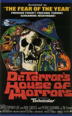 """Movie Poster for the portmanteau horror film """"Dr. Terror's House of Horrors"""" directed by Freddie Francis and starring Peter Cushing and Christopher Lee Horror Movie Posters, Horror Dvd, Old Movie Posters, Movie Poster Art, Horror Films, Poster Poster, Horror Vintage, Retro Horror, Scary Movies"""