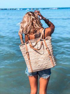 Large Blue Stripe Turtle Beach Duffle Bag Rope Straps Holiday Beach Travel Work
