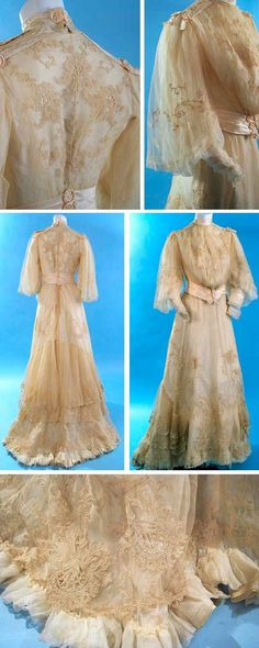 Wedding gown, G.C. Clark, late 19th century. Cream lace appliqué on net overlay. Front-closing bodice with hooks & eyes in stayed lining. Bell-shaped overlay sleeves with chiffon undersleeves and snug lace-trimmed cuffs. Satin sash and trimmings, some hand-embroidered. Hook & eye back-closing skirt, lined in silk taffeta with layer of fine white tissue chiffon between it and net/lace exterior. Tiered layers of appliquéd lace at base of skirt with train at back. Carolyn Forbes Textiles