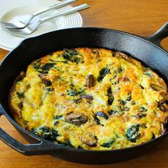 Mushroom Lover's Frittata with Spinach and Cheese is a great breakfast that's quick and easy, and this recipe is low-carb and gluten-free.  [from KalynsKitchen.com]