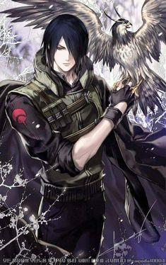 Uchiha Sasuke Wallpaper  + summoned Hawk ❤️❤️❤️
