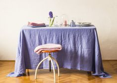 Pure linen tablecloth. GARMENT DYED. First class by vydravolkmer Linen Tablecloth, Linen Napkins, Types Of Colours, Linen Fabric, Pure Products, Contemporary, Chair, Home Decor, Flax Weaving