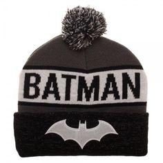 0d2879d642758 Batman Reflective Cuff Beanie Hat - DC Comics Pom Black White Bat Logo  Gotham  Bioworld