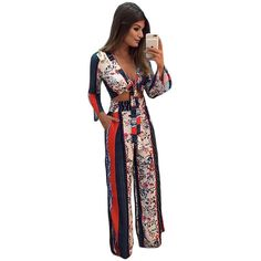 Summer stylish printed bell sleeve crop top wide leg pant set sexy 2 piece tie up V neck crop top and loose high waist pant set