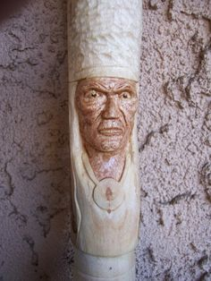 NA Indian hand carved on Paulonia walking stick.