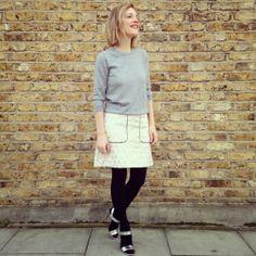 light skirt + tights + sandals + gray