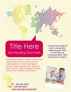 Flyer Template with World Map #Travel