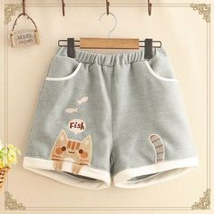 New cute cat eat fish embroidery shorts sold by Harajuku fashion. Shop more products from Harajuku fashion on Storenvy, the home of independent small businesses all over the world. Harajuku Mode, Harajuku Fashion, Kawaii Fashion, Lolita Fashion, Cute Fashion, Fashion Women, Pastel Fashion, Fashion Styles, Fashion Victim