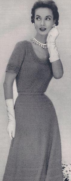 Vintage Knitting Scoop Neck Dress Knitting Pattern