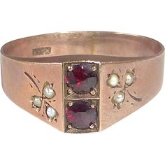 Antique Victorian Rose Gold Ring Garnets & Seed Pearls
