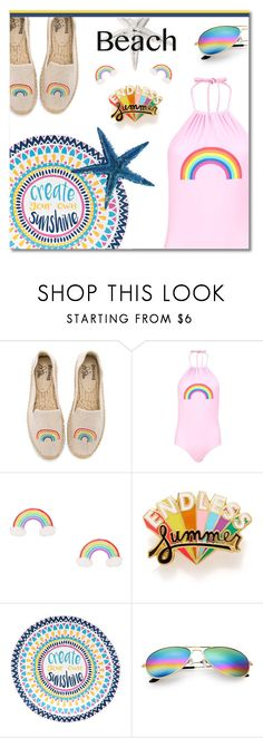 """Rainbow summer"" by ekaterina-uglyanitsa ❤ liked on Polyvore featuring Soludos, Boohoo, ban.do and beachday"
