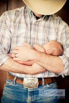 Newborn and cowboy dad...I think my heart just melted! Why didn't we do this!!!