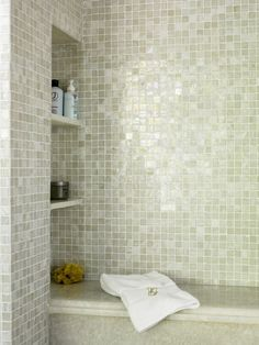 New bathroom shower shelves storage master bath ideas Shower Seat, Traditional Bathroom, Contemporary Bathrooms, Iridescent Tile Bathroom, Bathroom Decor, Shower Niche, Master Bath Renovation, Bath Renovation, Bathroom