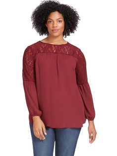 Maroon Top With Lace
